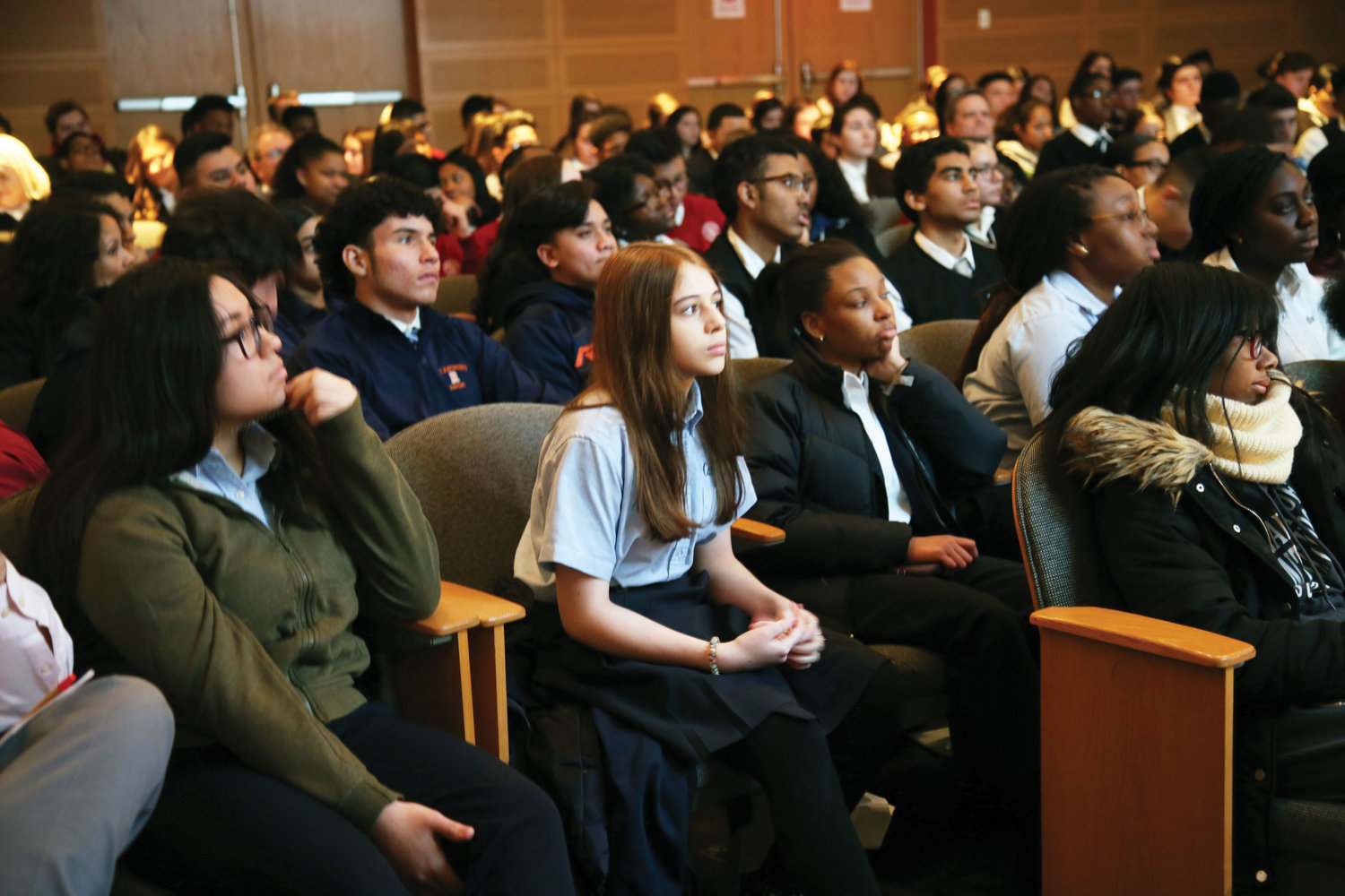 Some of the 240 students from 31 Catholic schools in the archdiocese listen to the speakers.