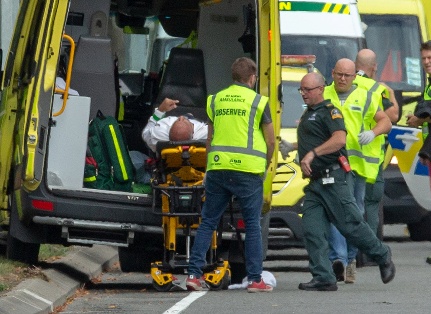 An injured man is placed into an ambulance following a shooting at the Al Noor Mosque in Christchurch, New Zealand, March 15.