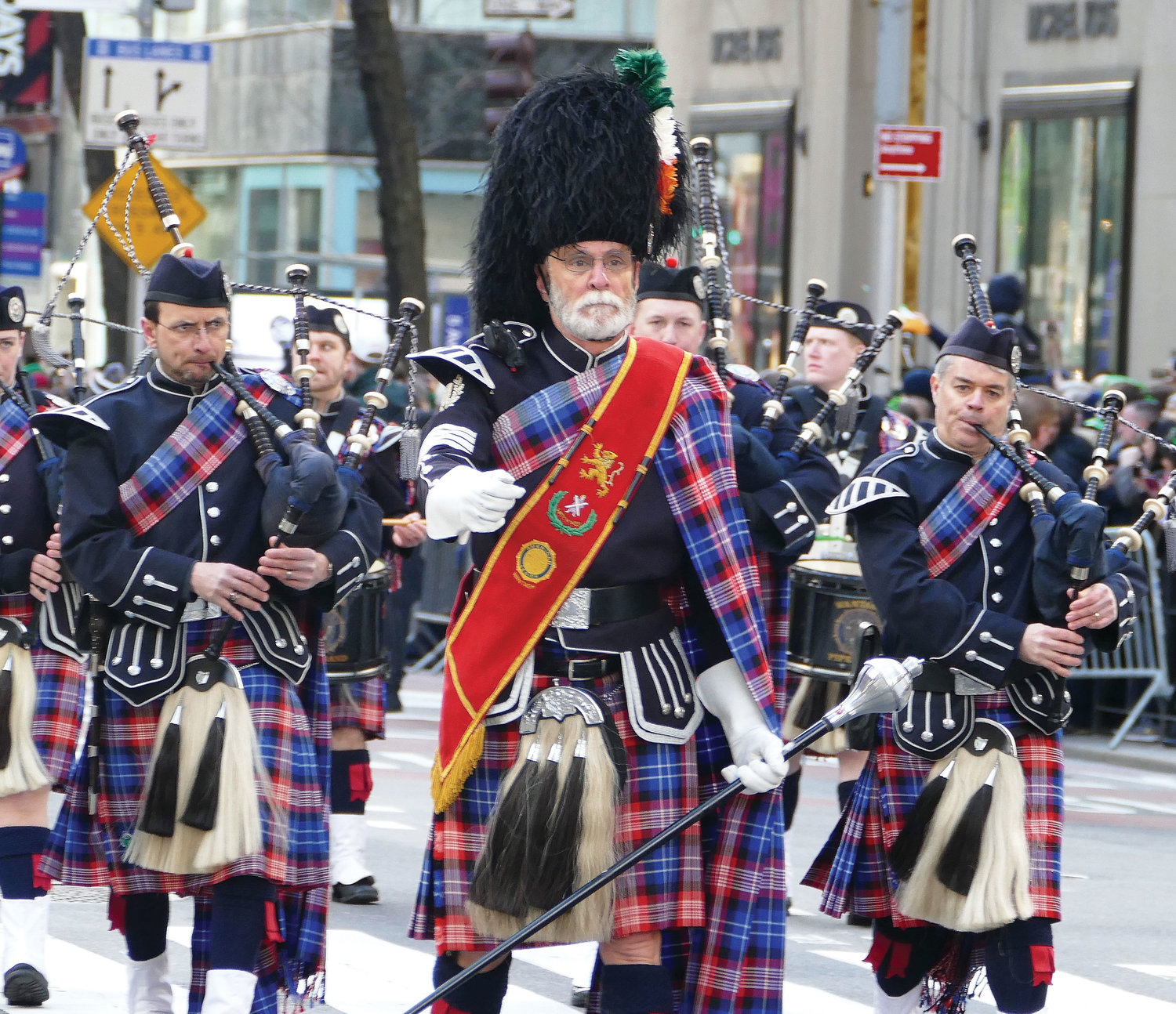 A pipe and drum corps from Long Island look and sound just right.