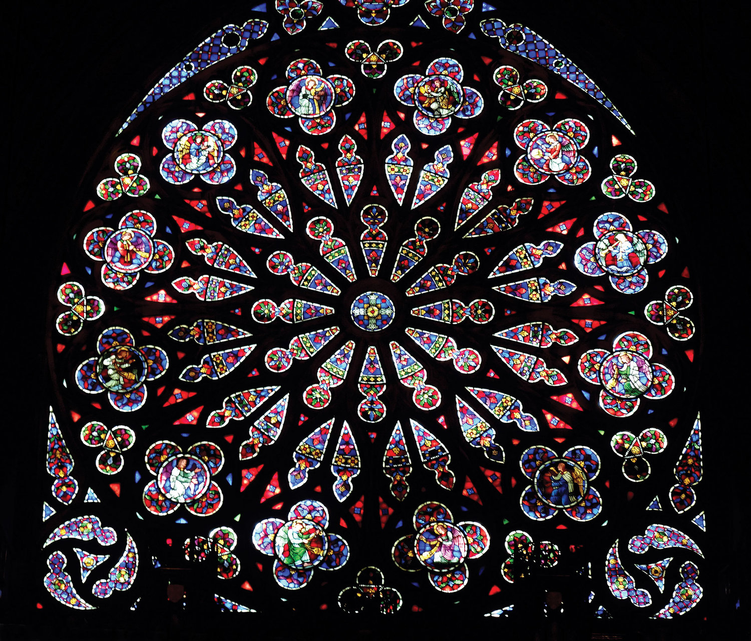 The newly restored Rose Window was unveiled at the end of Mass at Blessed Sacrament Church in Manhattan April 7.