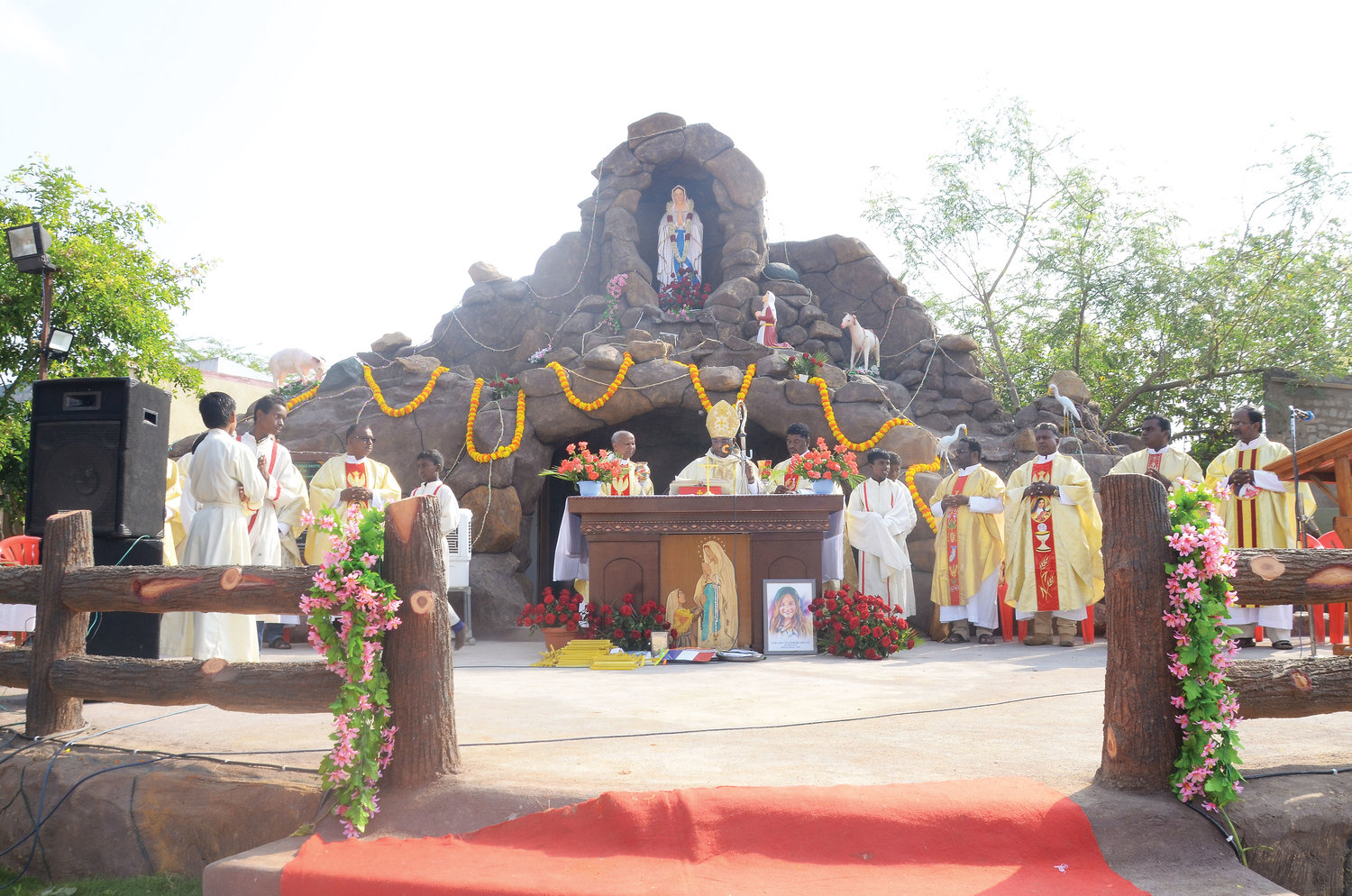The Our Lady of Lourdes grotto at St. Theresa's parish in Kakkanour, India, was dedicated last month in Kaitlyn's memory. A portrait of Kaitlyn leans against the altar.