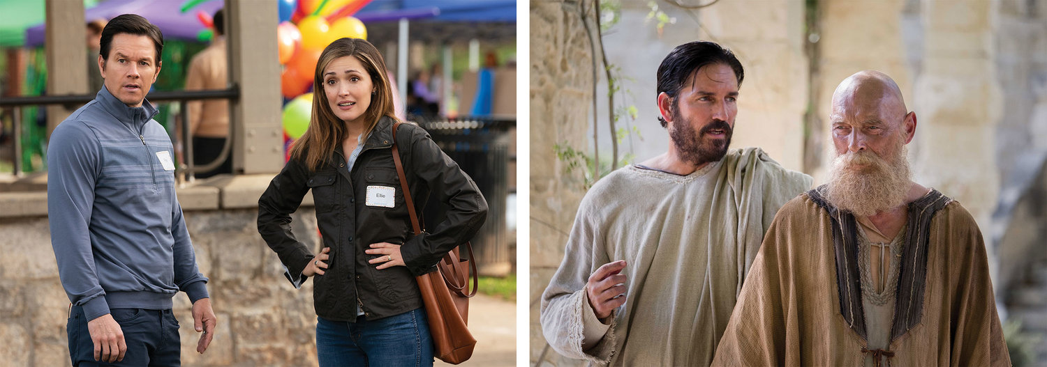 "CHRISTOPHER AWARD WINNERS—In the combination photo above, Rose Byrne and Mark Wahlberg star in a scene from the 2018 movie ""Instant Family,"" and James Faulkner, right, as St. Paul, and Jim Caviezel as St. Luke are seen in the film ""Paul, Apostle of Christ."" Both films were named winners of Christopher Awards to be presented Thursday, May 23."