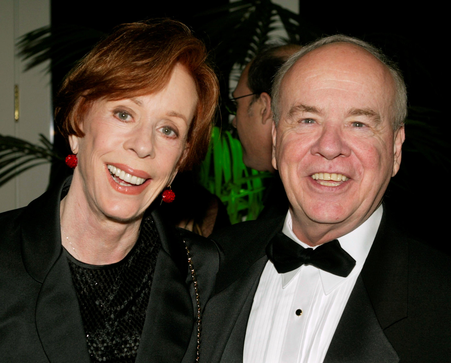 "Actor Tim Conway smiles with actress Carol Burnett in 2002 at the Academy of Television Arts and Sciences' 15th annual Hall of Fame ceremony in Beverly Hills, Calif. Conway, a Catholic, who won four Emmy Awards on the ""Carol Burnett Show,"" died May 14 at age 85."