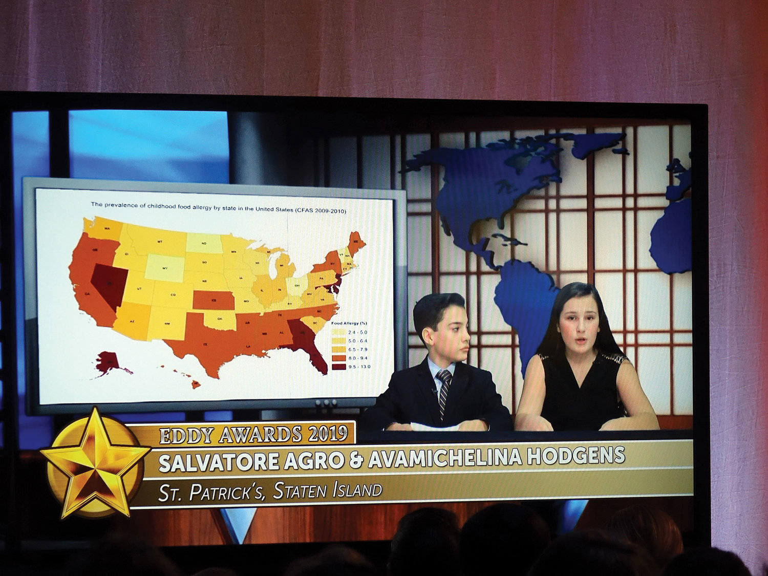 A broadcast is shown of the work of Eddy award-winning elementary anchorpersons Salvatore Agro and Avamichelina Hodgens of St. Patrick's School, Staten Island, during the 46th annual Eddy Awards May 17 at the ITV Studios in Yonkers.
