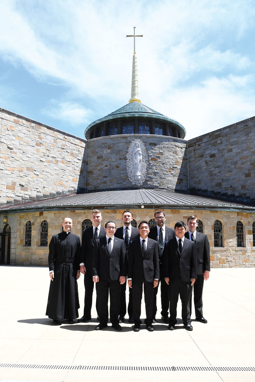 Senior seminarians of Cathedral Seminary House of Formation in Douglaston, Queens, who are members of the Class of 2019 for the Archdiocese of New York, convene for a photo, on campus on their convocation day, May 18. Pictured with the rector, Father George Sears, at far left, they are: Viktor Gjergji, David L. Birkdale, Vasel L. Gjonlekaj, Jay A. Sulit, Jozef Ukaj, William C. Mendoza and Charles J. Cothren.