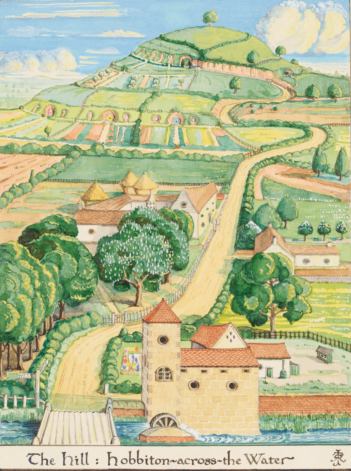 "TOLKIEN'S WORLD—""The Hill: Hobbiton-across-the Water,"" J.R.R. Tolkien, August 1937, watercolor, white body color, black ink, Bodleian Libraries. Copyright: The Tolkien Estate Limited, 1937. Part of the exhibition ""Tolkien: Maker of Middle-earth."" Courtesy of The Morgan Library & Museum. Photography by Graham S. Haber. This is one of five paintings Tolkien produced for the first American edition of ""The Hobbit."""