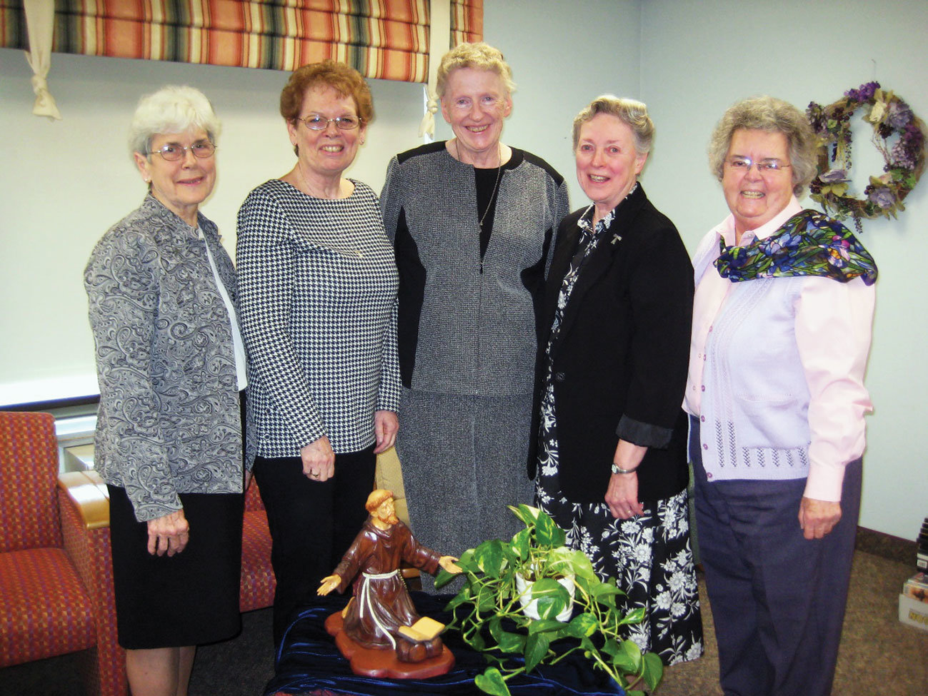 ELECTED LEADERS—Sister Regina Holtz, F.S.P.; Sister Maureen Colleary, F.S.P.; Sister Helen Wacker, F.S.P.; Sister Dorothy DeYoung, F.S.P.; and Sister Jeanne Gilligan, F.S.P., were elected to the Franciscan Sisters of Peace leadership team at the Ninth General Chapter Elections at Marian Woods in Hartsdale April 6.