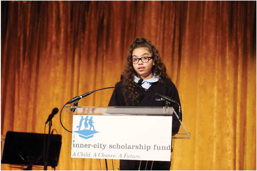 Amaya Rojas, a seventh-grader at Santa Maria School in the Bronx, delivers her speech on behalf of the students who receive tuition assistance from the scholarship fund.