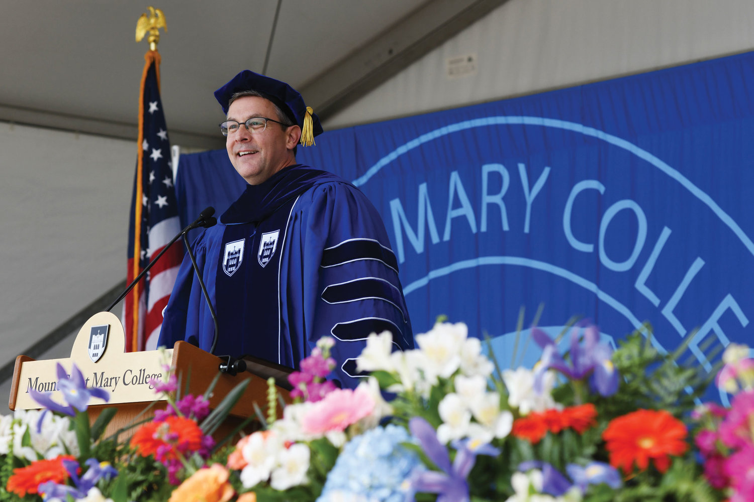 Dr. Jason N. Adsit, president of Mount St. Mary College, welcomes the graduates.
