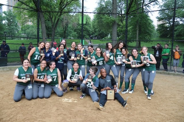 Notre Dame School celebrates its softball championship.