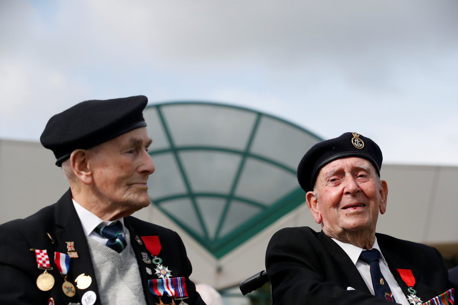 British WWII D-Day veterans attend a ceremony near Pegasus Bridge, as France prepares to commemorate the 75th anniversary of D-Day, in Ranville, France, June 5.