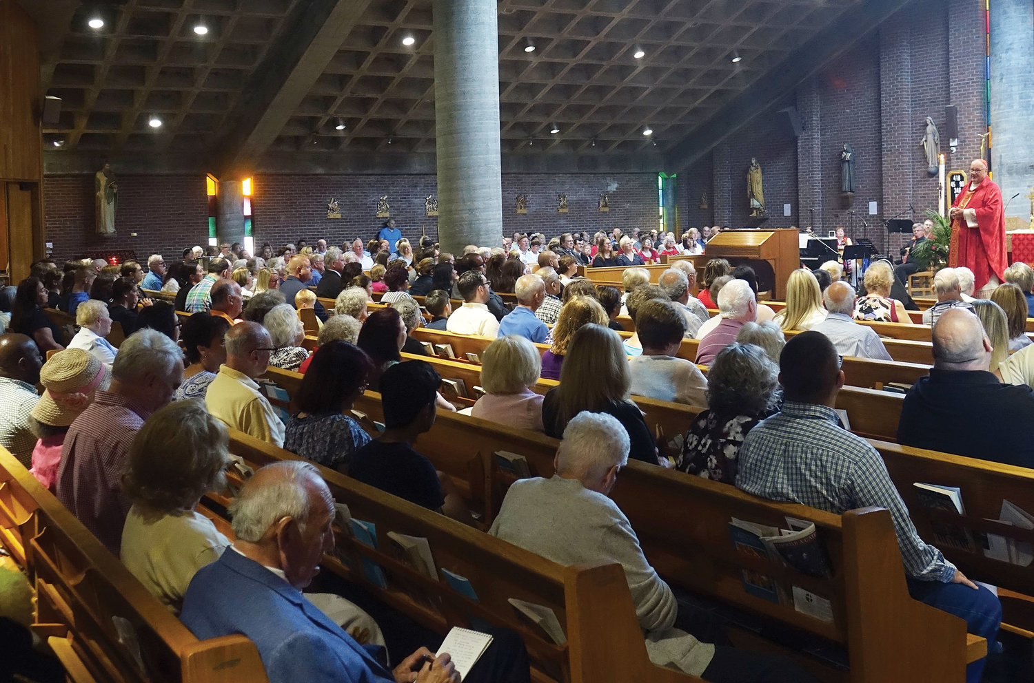 About 650 people filled the church for Mass.