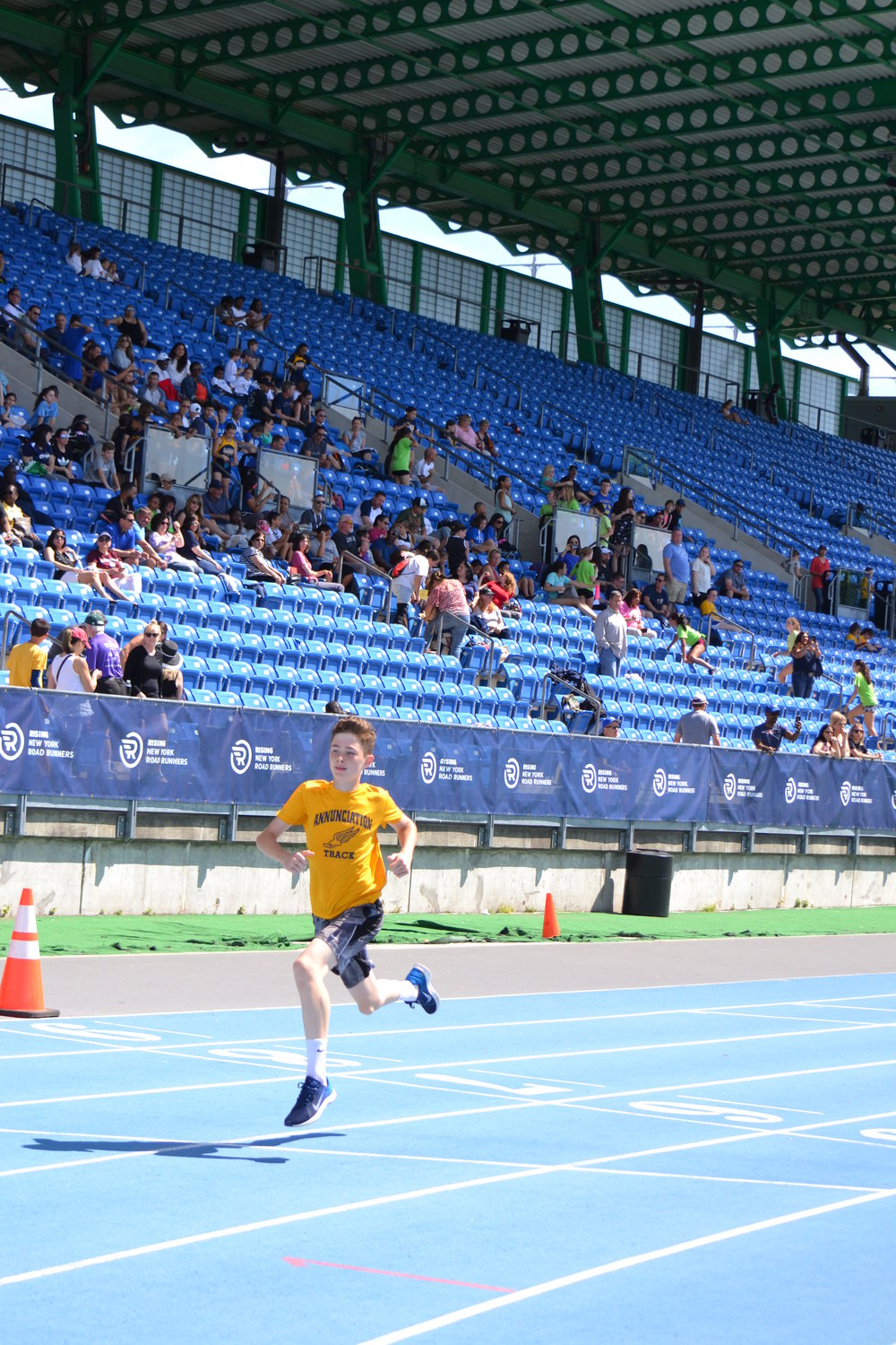 Davey Davitt of Annunciation, Crestwood, above, won two races at the CYO Track and Field Championships at Icahn Stadium in Manhattan June 9.