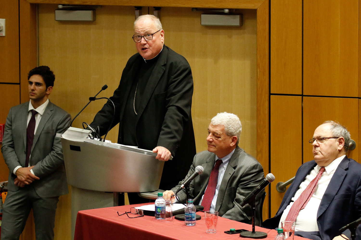 Cardinal Dolan speaks during a panel discussion on the Vatican-Israel accord June 19 at Fordham University's Lincoln Center campus in Manhattan. Next to the cardinal are Rabbi David Strauss, left, of Main Line Reform Temple Beth Elohim in Philadelphia, and Ambassador Dani Dayan, Israel's consul general in New York.