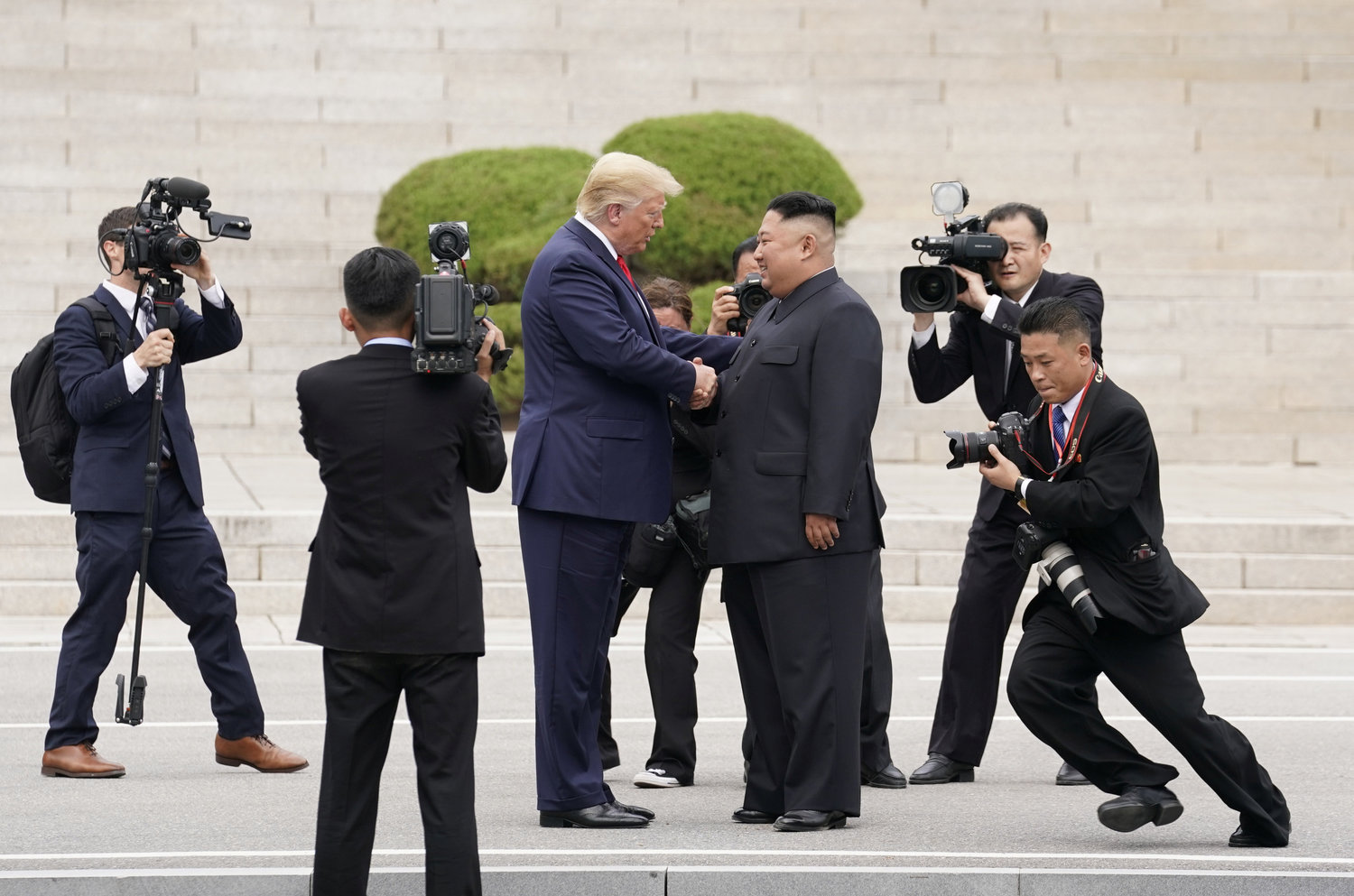 "HISTORIC MEETING—U.S. President Donald Trump meets with North Korean leader Kim Jong Un June 30, in Panmunjom, South Korea, at the demilitarized zone separating the two Koreas. After praying the Angelus with pilgrims gathered in St. Peter's Square the same day, Pope Francis called the historic meeting a ""good example of a culture of encounter."""