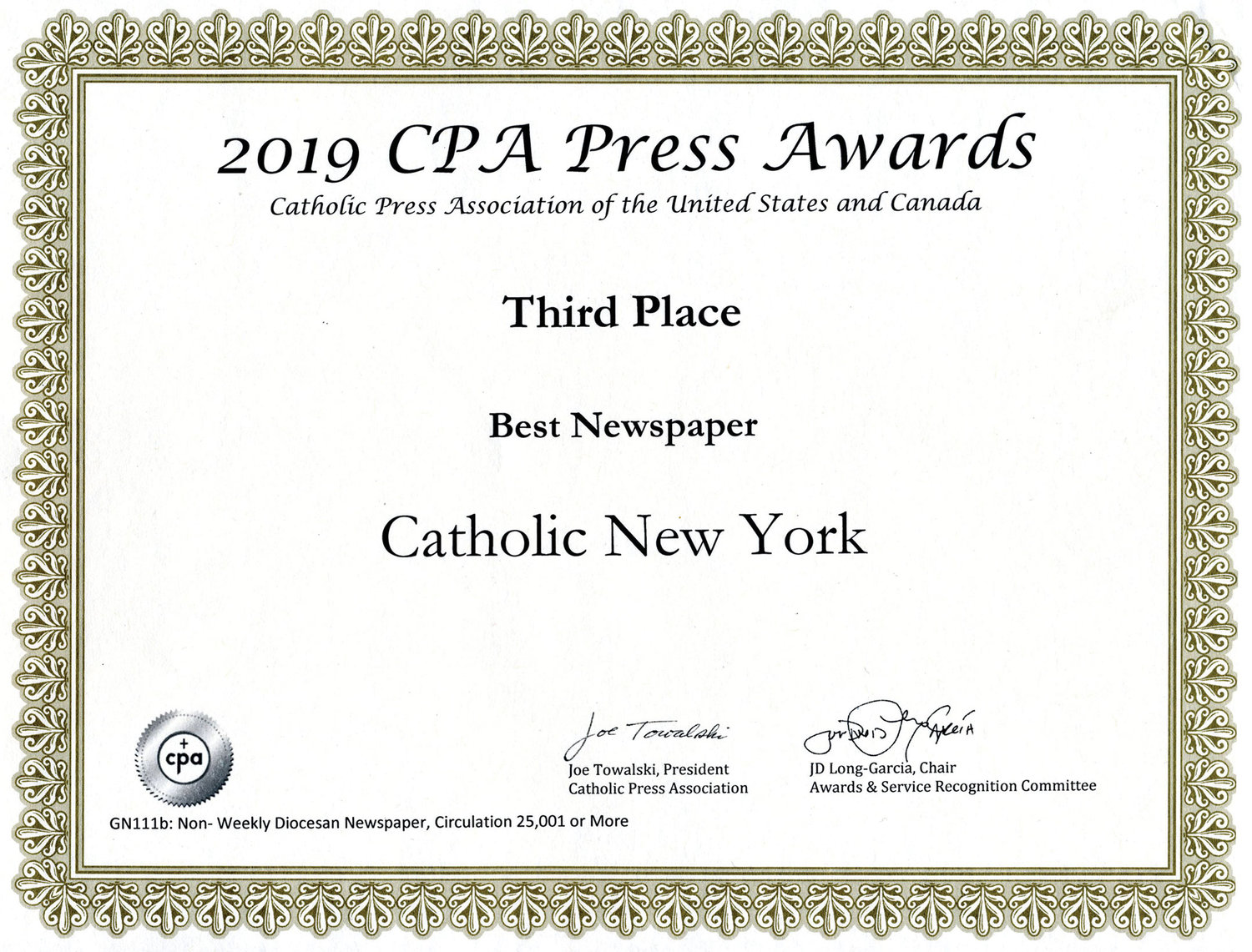 Catholic New York placed third in the Newspaper of the Year category of the annual Catholic Press Association Awards competition.