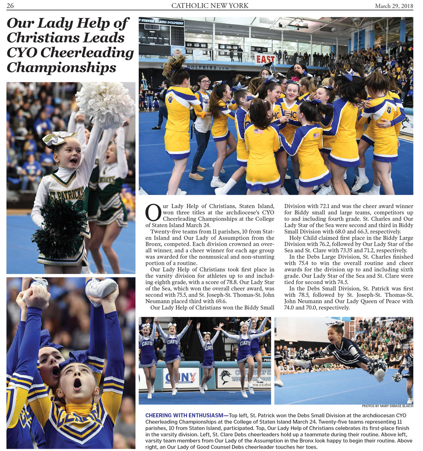 Mary DiBiase Blaich's first-place entry in the Multiple Picture Package-Sports category capturing the 2018 CYO Cheerleading Championships.