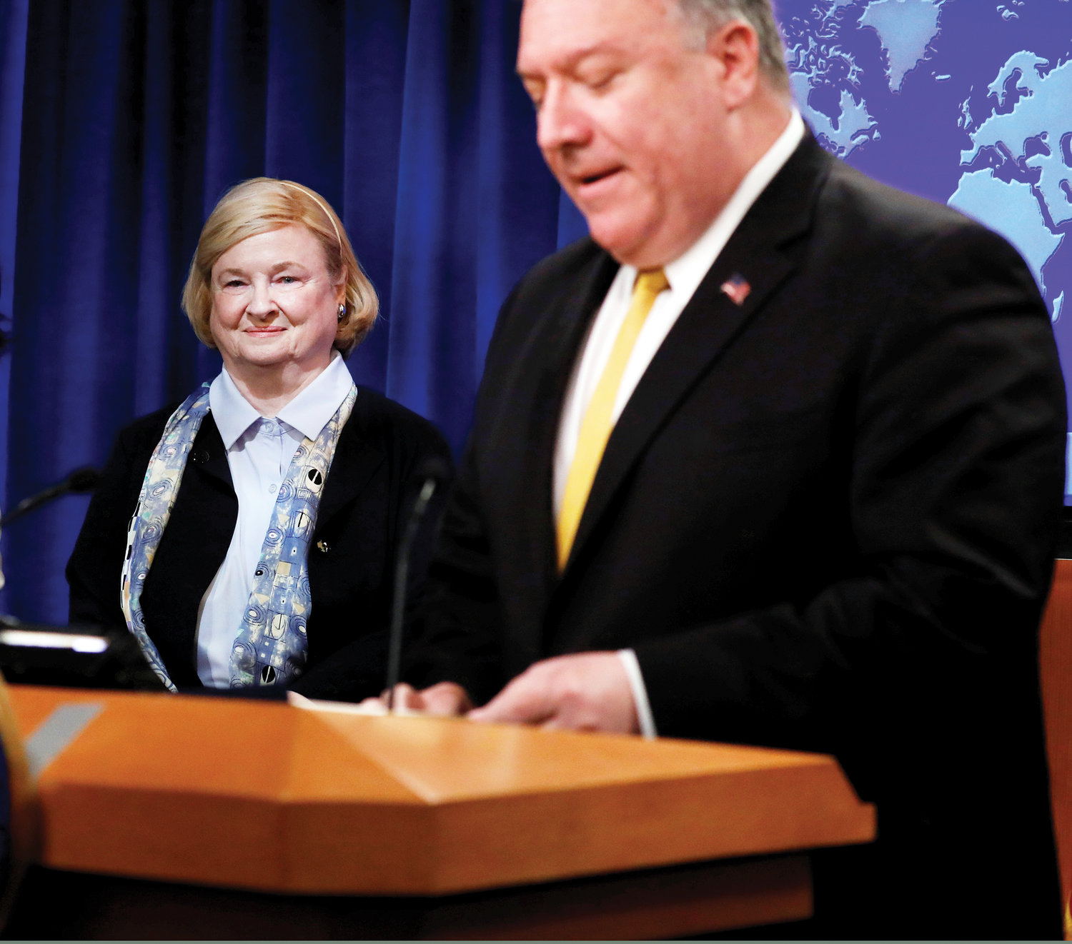 CHAIRWOMAN—U.S. Secretary of State Mike Pompeo introduces Mary Ann Glendon, former U.S. ambassador to the Vatican, as the head of the Commission on Unalienable Rights at a news conference July 8 at the State Department in Washington, D.C.