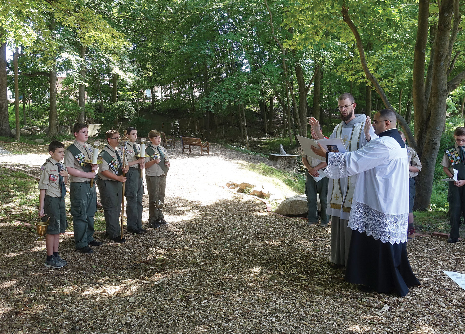 Father Gabriel Monahan, C.F.R., a Franciscan Friar of the Renewal, blessed and dedicated the St. Francis Prayer Garden and the Way of the Cross, with the assistance of Father John Figueroa, parochial vicar. The priests are members of the Class of 2019 at St. Joseph's Seminary, Dunwoodie, who were ordained by Cardinal Dolan at St. Patrick's Cathedral in May.