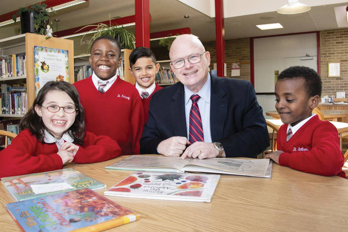 Interim Superintendent of Schools Michael Deegan visits students at St. Anthony School in Nanuet in April.