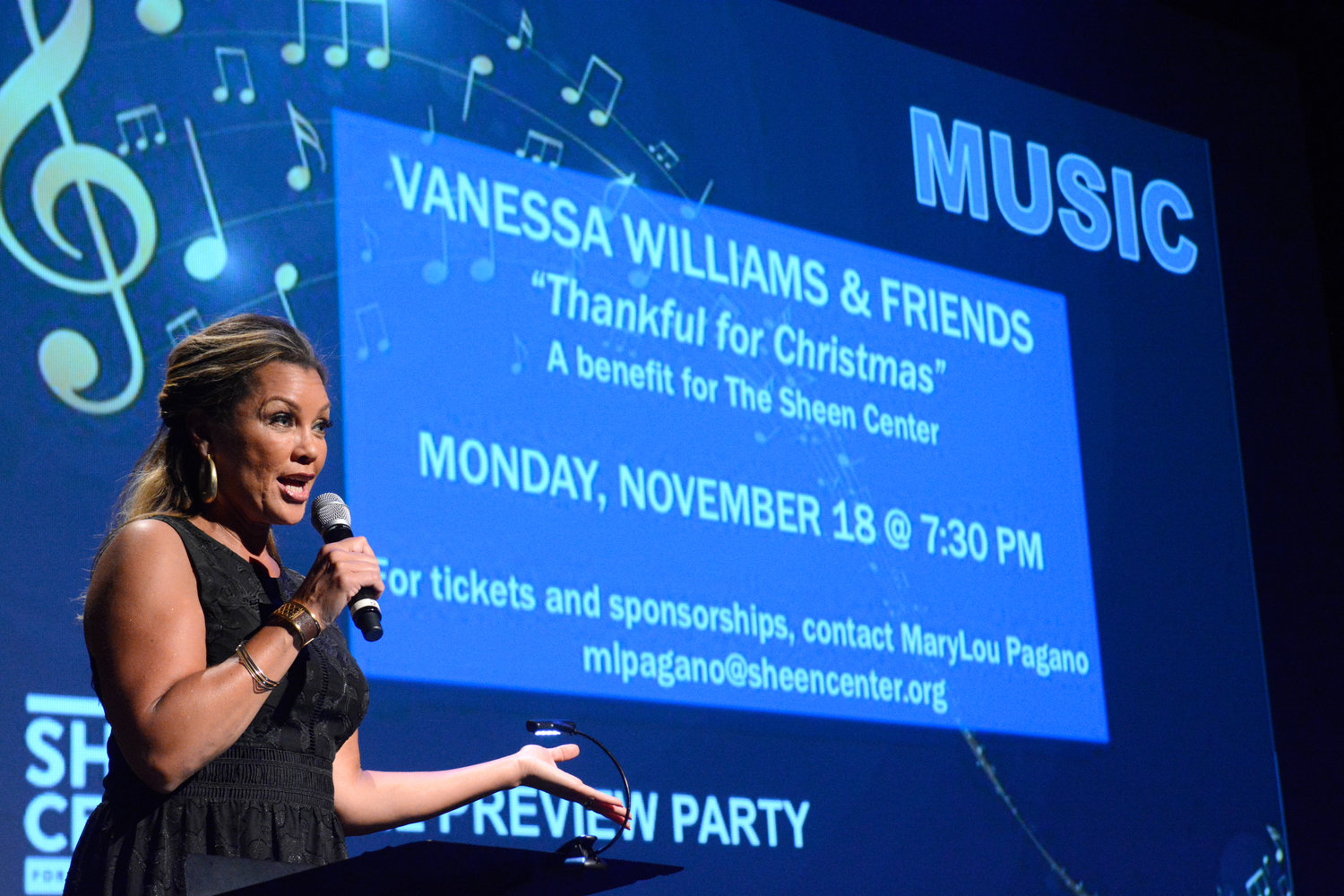 Actress, singer and author Vanessa Williams hosts the fall season preview of the Sheen Center for Thought & Culture July 30 at the Sheen's Black Box Theater.
