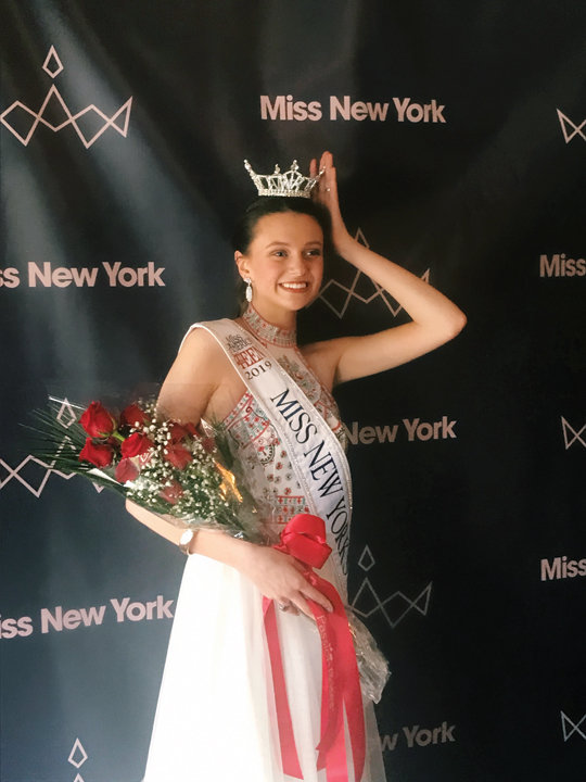 CROWNING GLORY—Sarah Lawrence, of St. Clare parish on Staten Island, is all smiles after being crowned Miss New York Outstanding Teen 2019 June 8 at the Paramount Hudson Valley Theater in Peekskill.