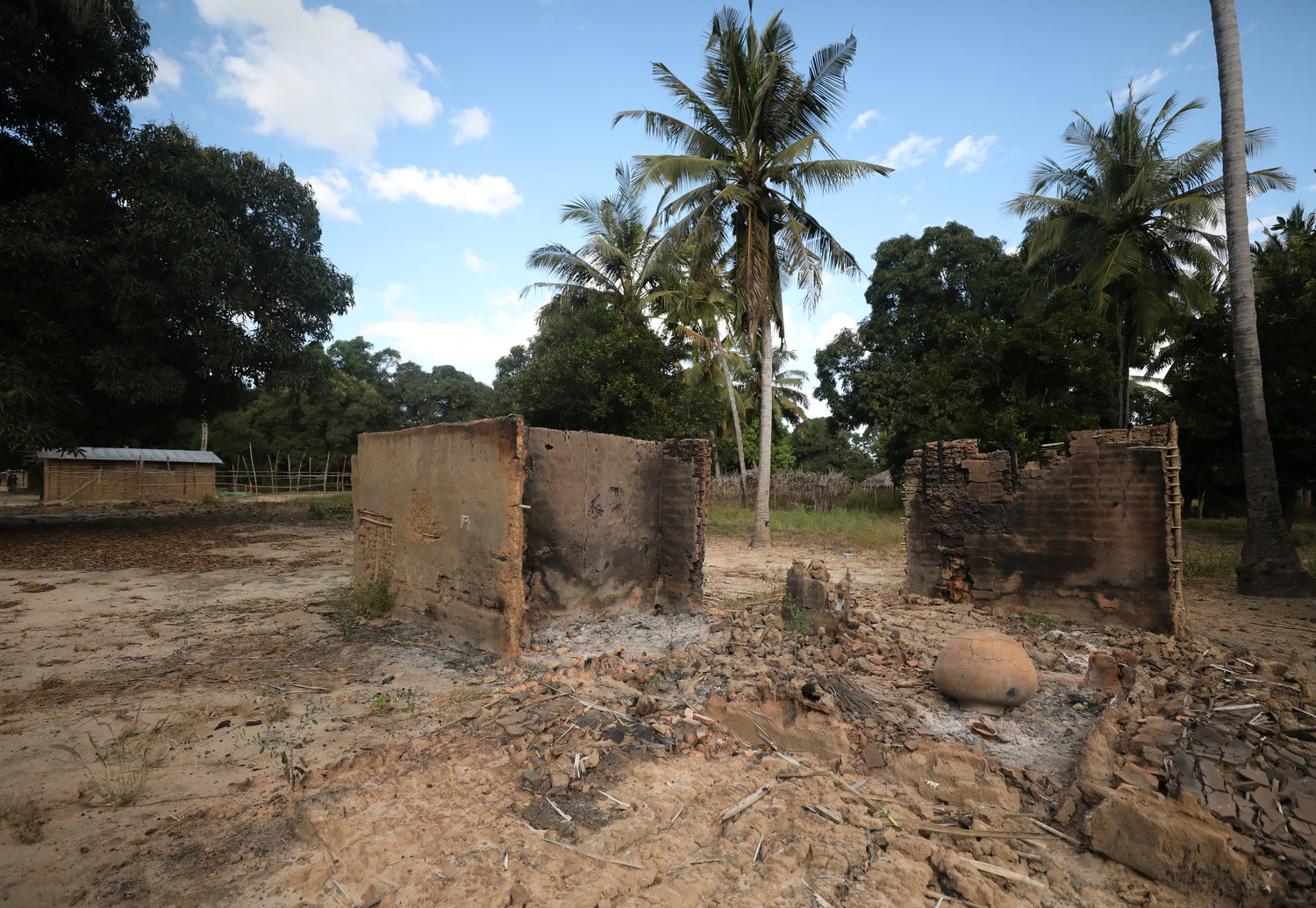 Destroyed homes are seen at the scene of an armed attack in Chitolo, Mozambique, July 10, 2018. Pope Francis is expected to talk about rejecting violence during the first stop of a three-nation trip in September.