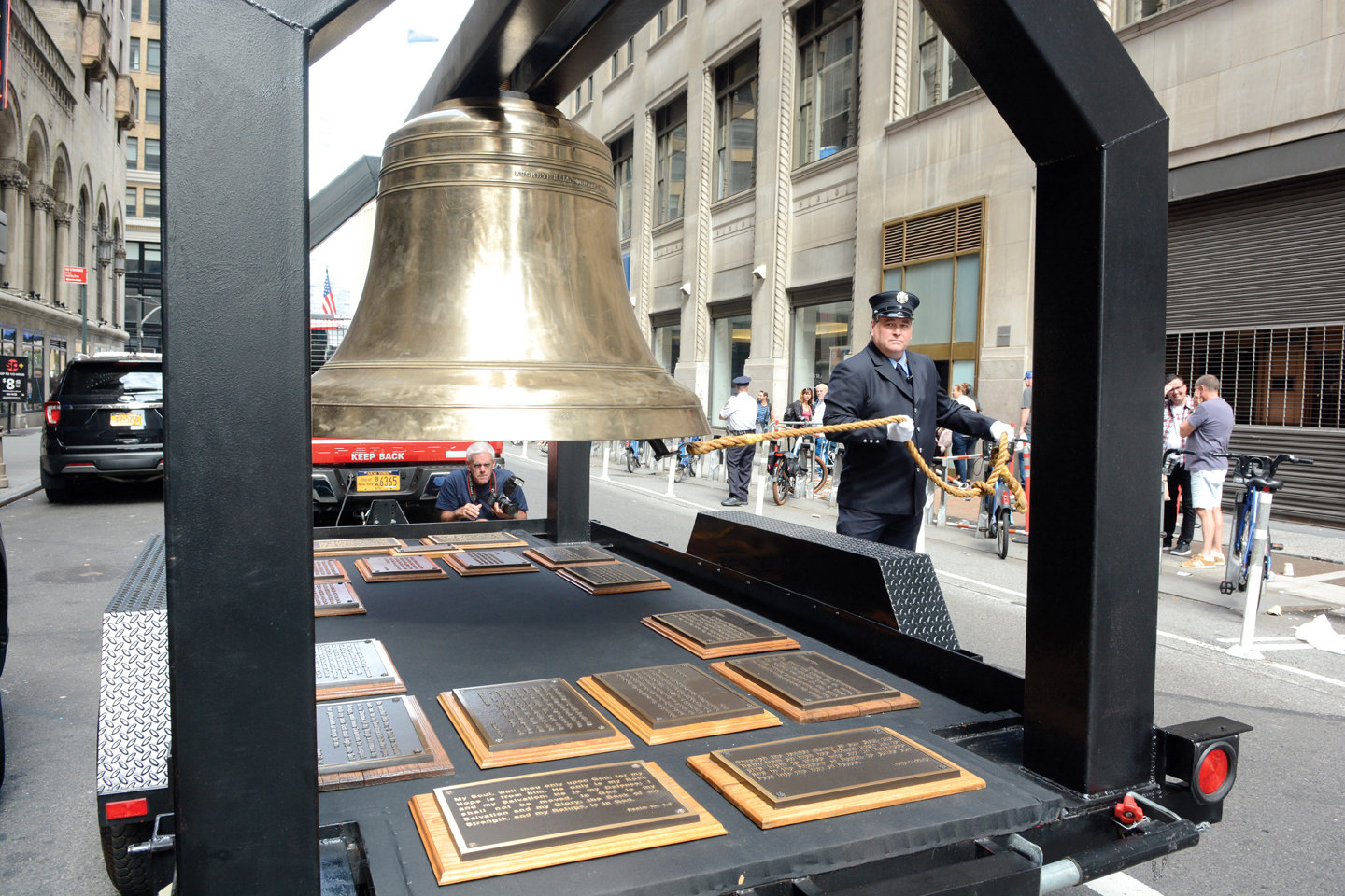 The Bell of Remembrance tolled during the annual Father Mychal Judge O.F.M. 9/11 Walk of Remembrance in Manhattan Sept. 8, retracing the footsteps of the FDNY chaplain who died while responding at the World Trade Center on Sept. 11, 2001.