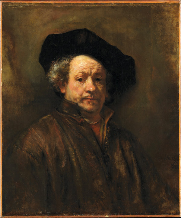 "SELF-PORTRAIT—Rembrandt (Rembrandt van Rijn) (Dutch, 1606–1669). Self-Portrait, 1660. Oil on canvas. 31 5/8 x 26 1/2 in. The Metropolitan Museum of Art, New York, Bequest of Benjamin Altman, 1913. The 1660 work is in the exhibit ""In Praise of Painting: Dutch Masterpieces at The Met."""
