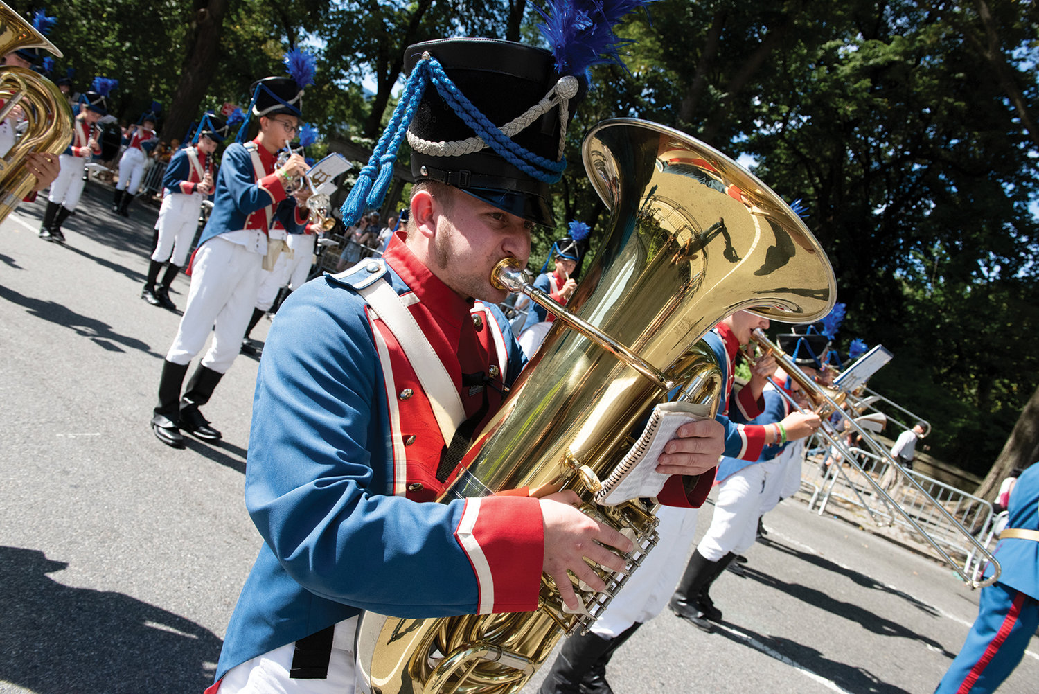A band marches up Fifth Avenue in the 62nd annual German-American Steuben Parade New York Sept. 21.