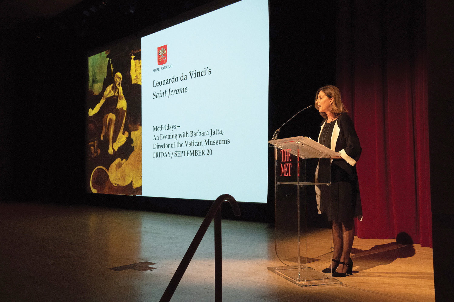 Dr. Barbara Jatta, director of the Vatican Museums, delivers a lecture on Sept. 20 about a renowned work of Leonardo da Vinci on special loan at The Metropolitan Museum of Art 