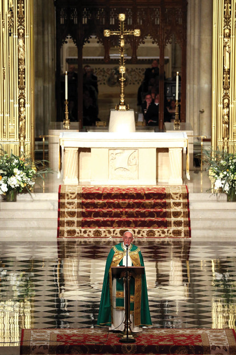 "LIKE NEW—St. Patrick's Cathedral, gleaming after its recent renovation, welcomes Pope Francis during his visit to New York in September 2015. Upon arriving outside, the pope remarked, ""The cathedral is right in the middle of everything. And that's where it should be."""