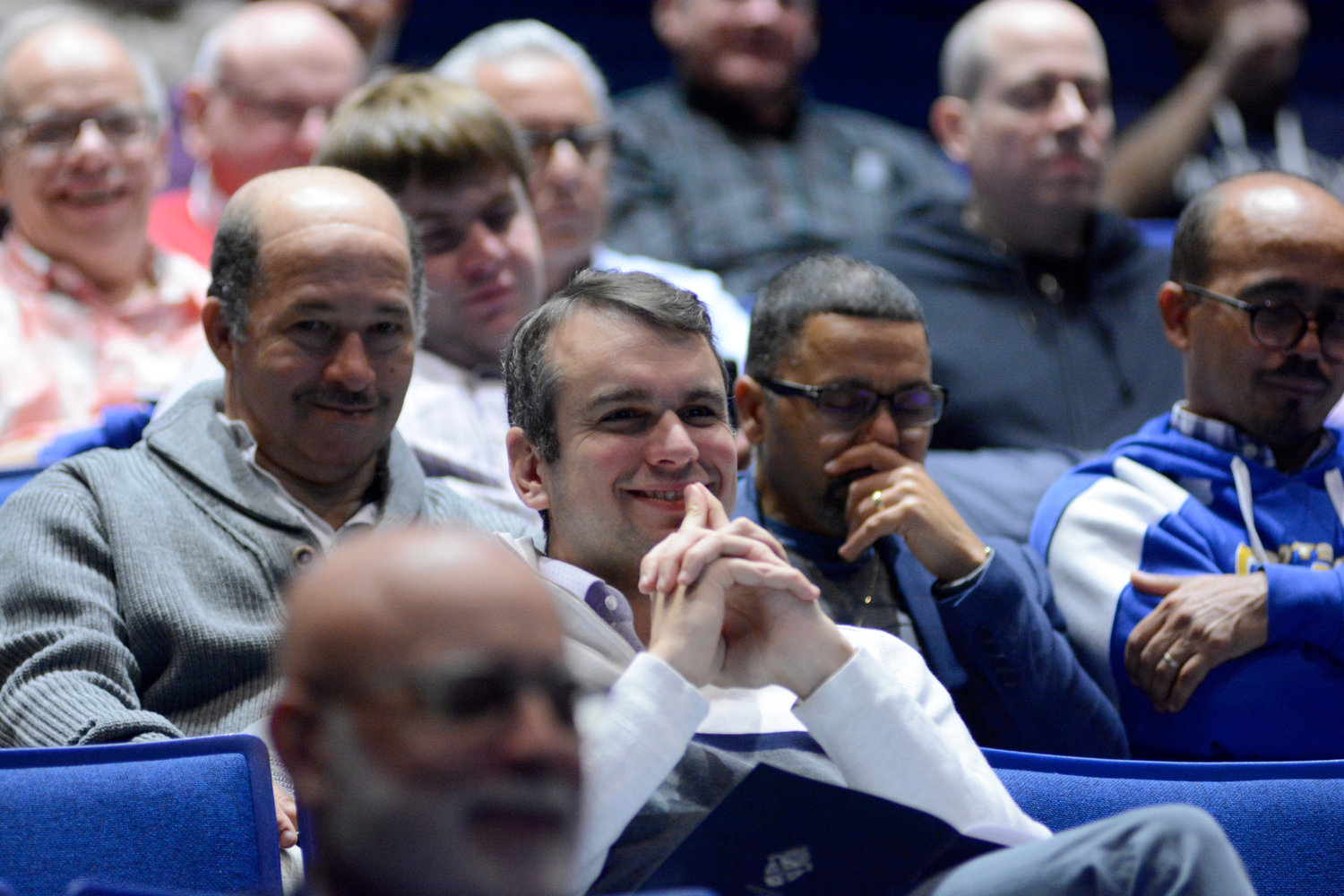 "Those attending the Men's Conference listen to New York Times best-selling author Joe Sweeney deliver his talk on the theme of ""Men of Character in Today's World"" at the SUNY Purchase Performing Arts Center Nov. 2."