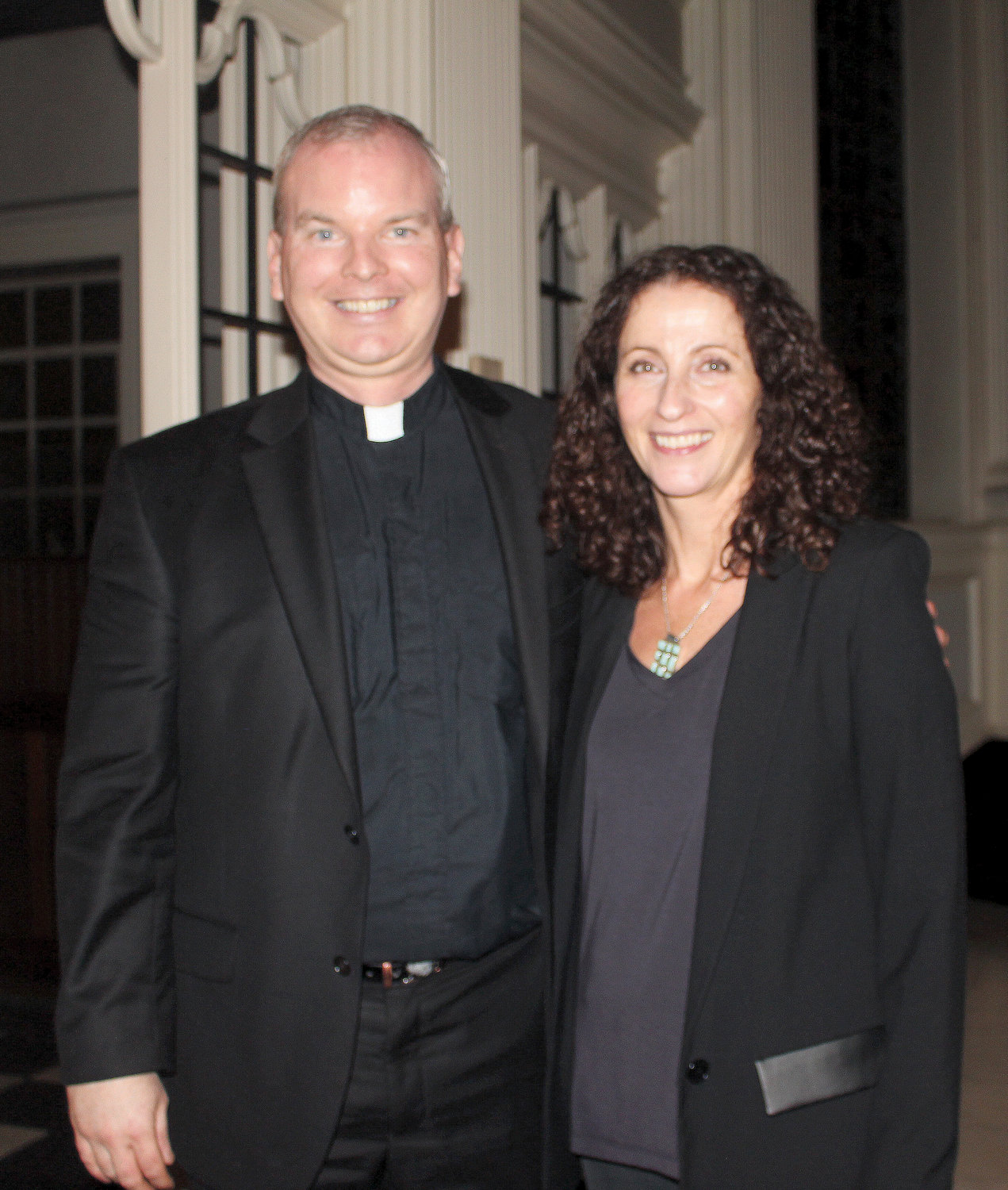 Roisin Carty, right, was the guest speaker Oct. 21 for the Thomas Merton Lecture at Corpus Christi Church in Manhattan where her cousin, Father Daniel O'Reilly, left, is the pastor.