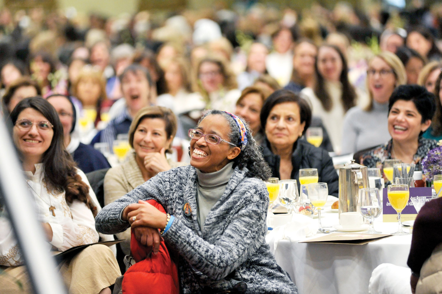 350 women in a filled banquet room listen to keynote speaker Sister Virginia Joy, S.V., at the Feminine Genius Brunch Nov. 16 at Hilton Westchester in Rye Brook.
