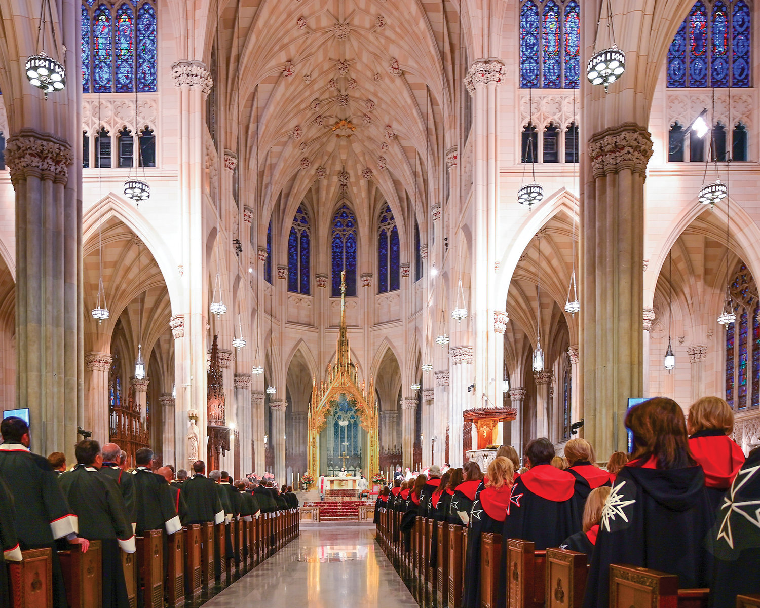 A congregation of knights and dames of the Order of Malta are assembled in the resplendent nave of St. Patrick's Cathedral Nov. 15 for the Solemn Liturgy of Investiture.