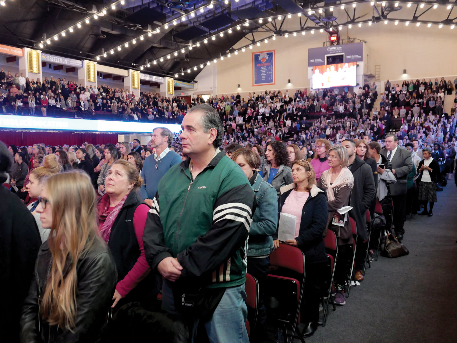 The crowd of 3,562 teachers and principals from the Archdiocese of New York, fill the Westchester County Center in White Plains Nov. 6 for the Catholic Schools Spirituality Day.