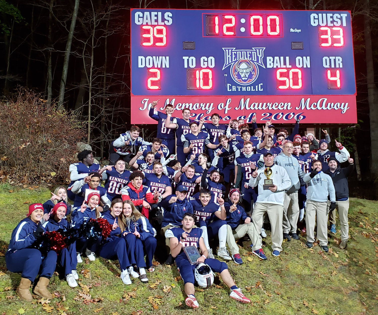 A team photo of John F. Kennedy Catholic is taken after the Gaels won the Catholic High School Football League A championship in overtime against Cardinal Spellman in Somers Nov. 10.