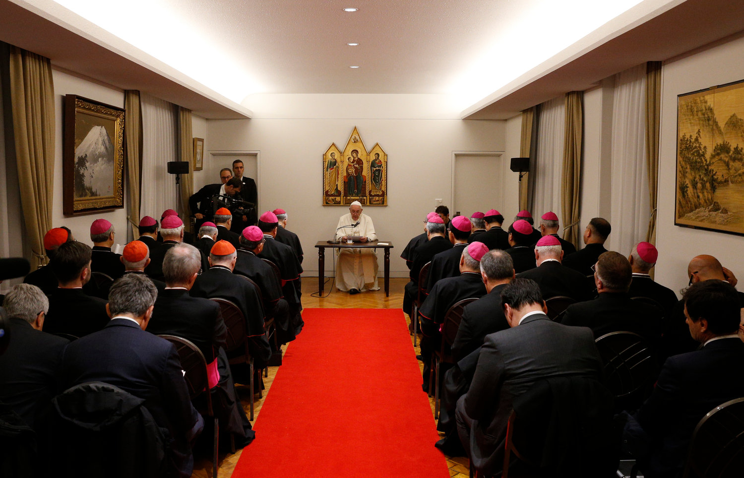 Pope Francis meets with the bishops of Japan at the apostolic nunciature in Tokyo Nov. 23.