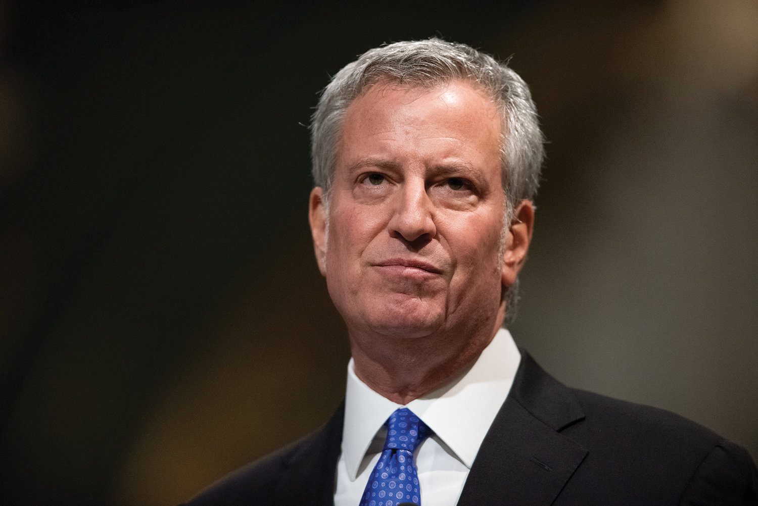 New York City Mayor Bill de Blasio remembers the homeless in his remarks at the service.