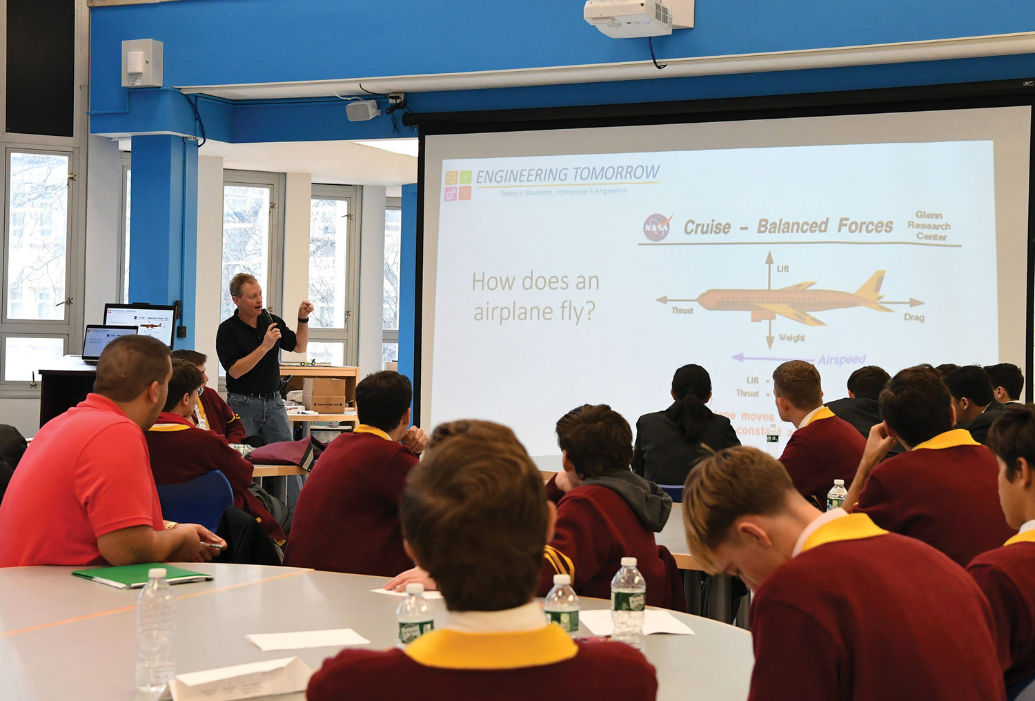 Erik Einset, an engineer with Engineering Tomorrow, explains the afternoon project on aerodynamics to the more than 75 Catholic high school students from Staten Island who were participating in their first engineering conference at Borough Presidents Hall of Science at the Petridies Education Complex Nov. 22.