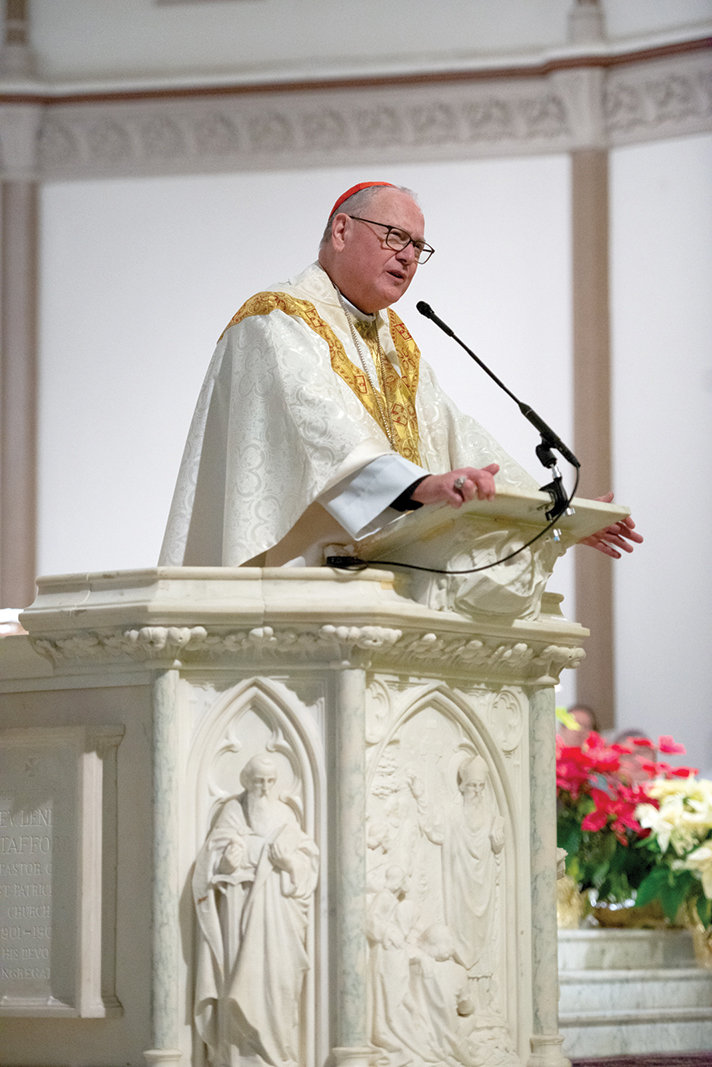 Cardinal Dolan preaches at the Mass he offered for New Yorkers at St. Patrick's Church in Washington, D.C., on the morning of Jan. 24.