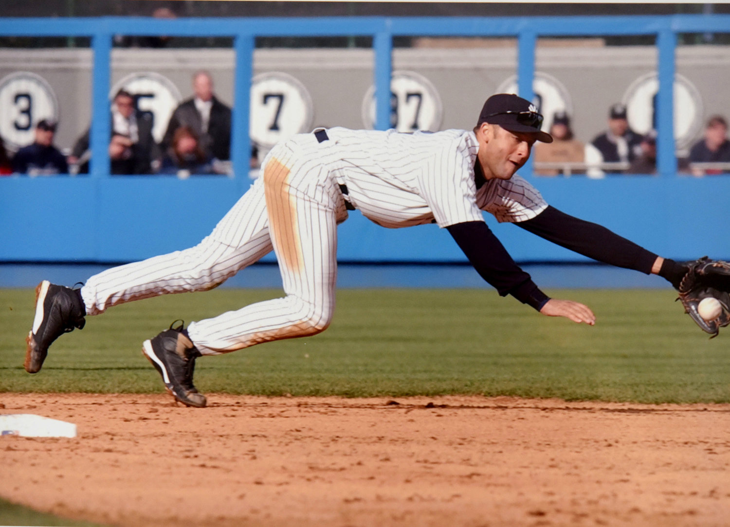 Shortstop Derek Jeter, shown diving for a ground ball, will be the second New York Yankee in as many years inducted in the Baseball Hall of Fame in Cooperstown July 26. Relief pitcher Mariano Rivera was inducted last year.
