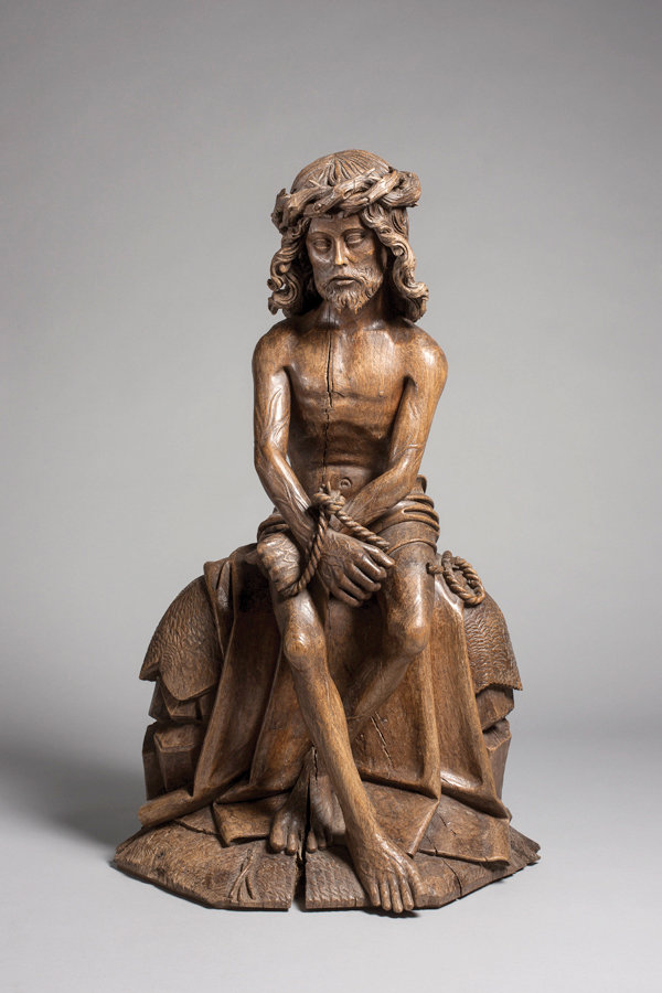 SOLITARY CHRIST—Christ on the Cold Stone, Netherlands, Brabant, c. 1490, 72 x 44.5 x 26 cm; oak with traces of polychromy. The woodcarving is part of the Gothic Spirit exhibit at the Luhring Augustine art gallery in the Chelsea section of Manhattan. The exhibit is done in conjunction with London's Sam Fogg gallery.