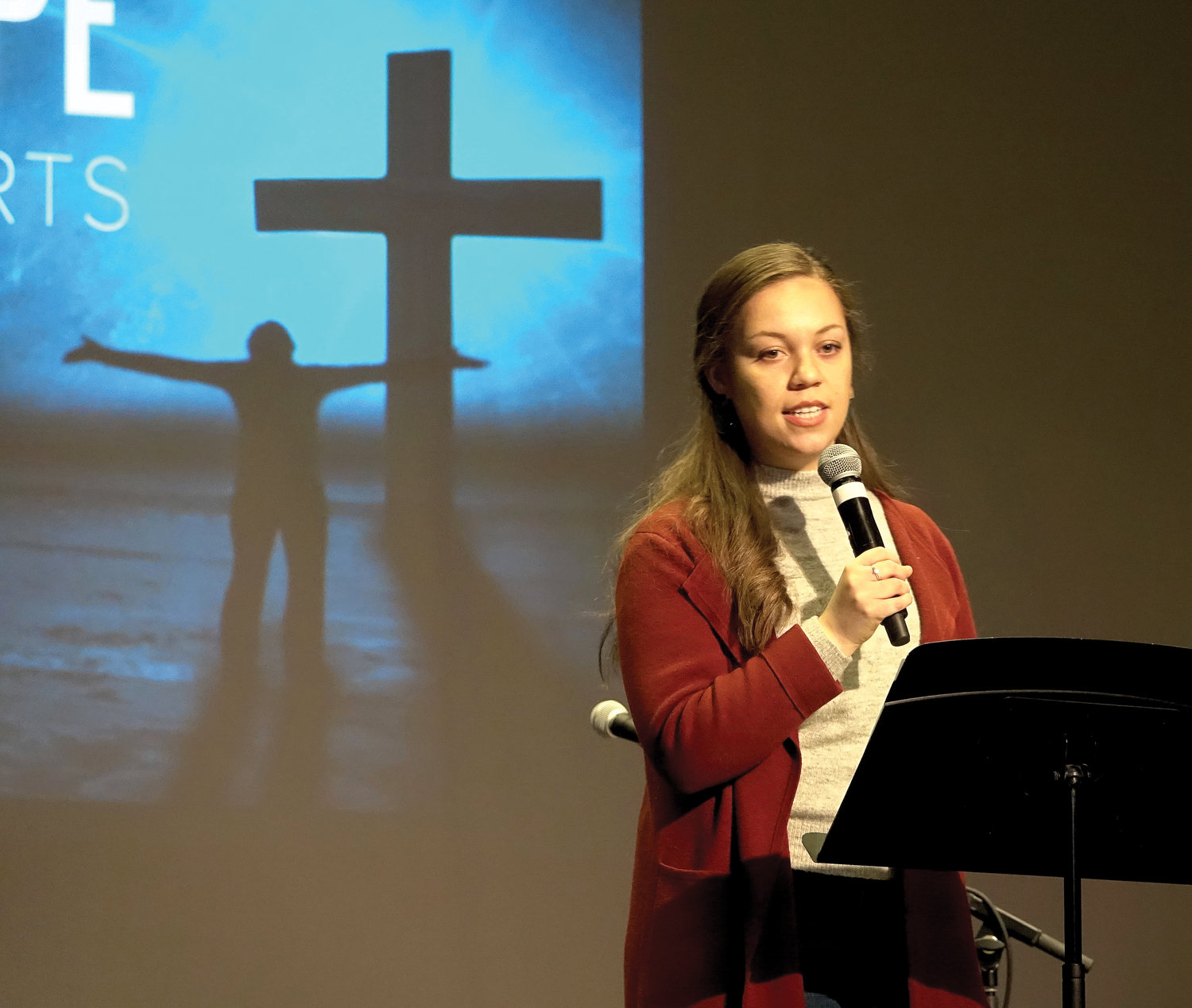 Array of Hope's Mariam Roldan delivers a talk to students at a confirmation retreat at Archbishop Stepinac High School in White Plains Feb. 23.