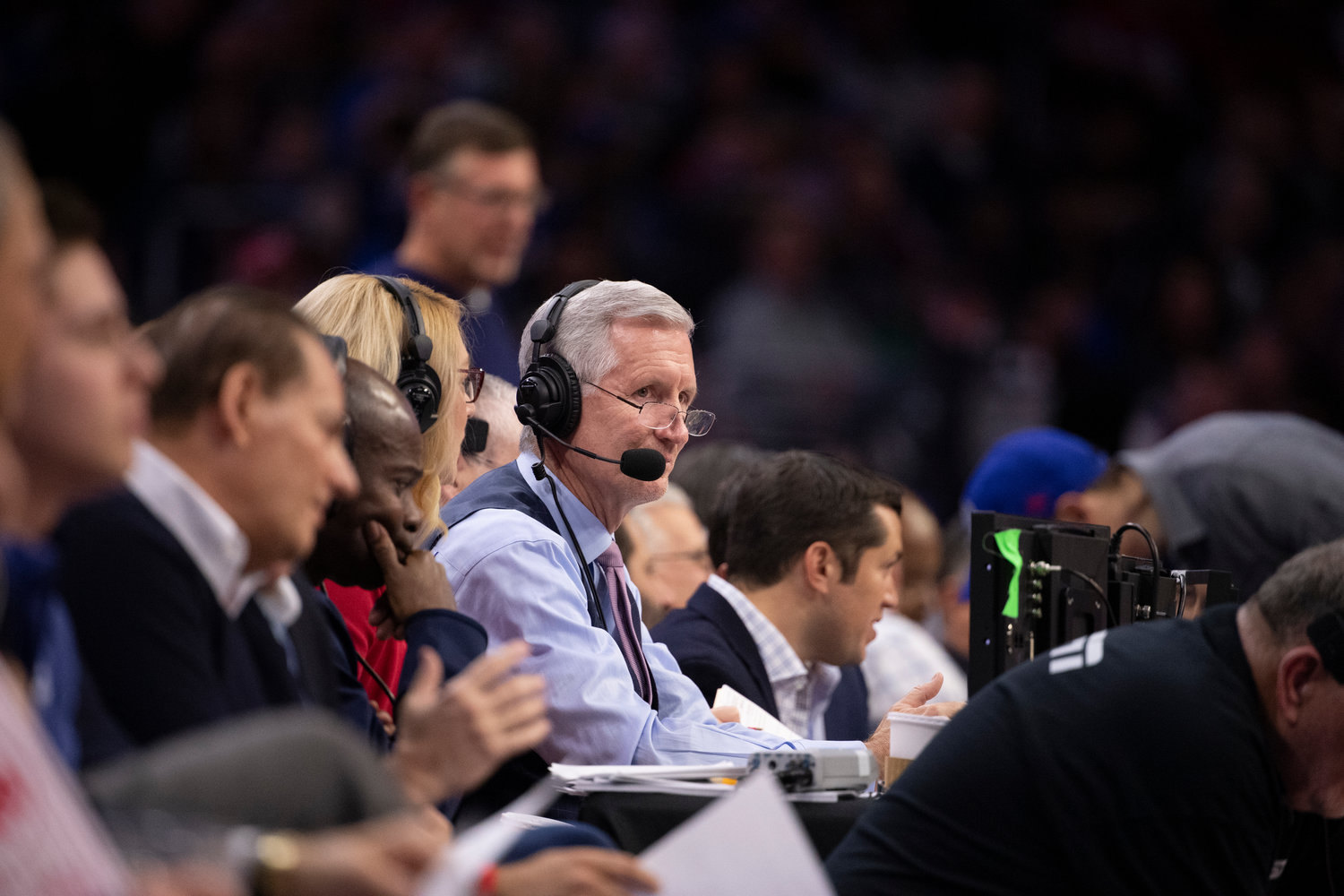 Mike Breen calls an NBA game between the Boston Celtics and Philadelphia 76ers from the Wells Fargo Center in Philadelphia in 2019.