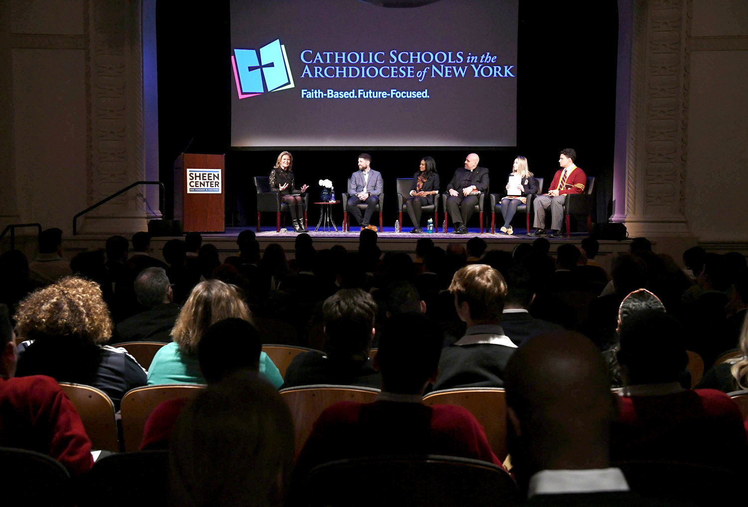 FUTURE-FOCUSED—On stage for the panel discussion were Monica Morales, moderator; Pete Burak, keynote speaker, and panelists Danielle M. Brown, Father Joseph Espaillat, and students Virginia Capellupo and Frank Scafuri.