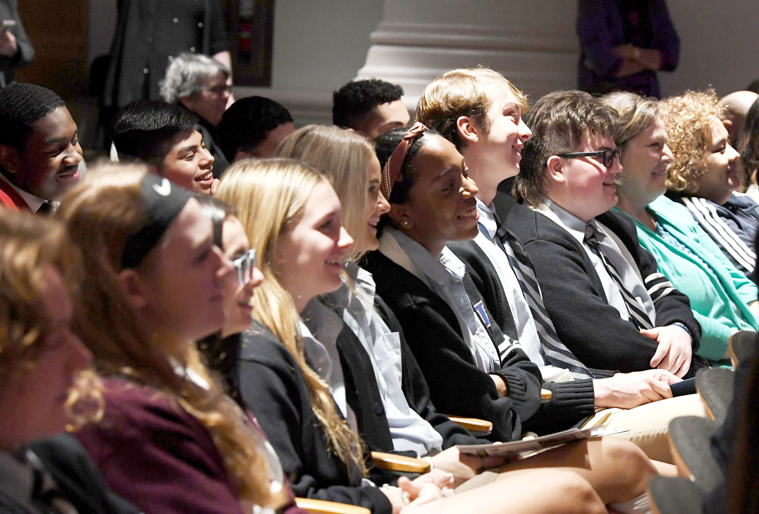 "EAGER LEADERS—Catholic high school peers listen to speakers at the fourth annual Student Leadership Conference, ""The Culture of Encounter: A Catholic Lens,"" March 12 at the Sheen Center for Thought and Culture in lower Manhattan."