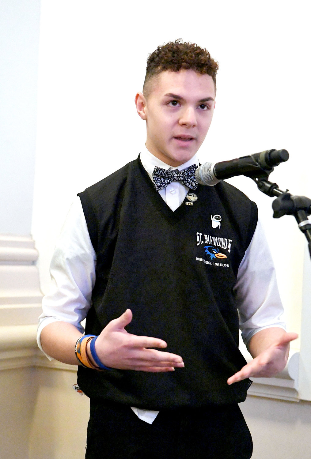 "FUTURE-FOCUSED—Joeden Hernandez, a senior at St. Raymond High School for Boys in the Bronx, raises a question during the fourth annual Student Leadership Conference, ""The Culture of Encounter: A Catholic Lens,"" March 12 at the Sheen Center for Thought and Culture in lower Manhattan."