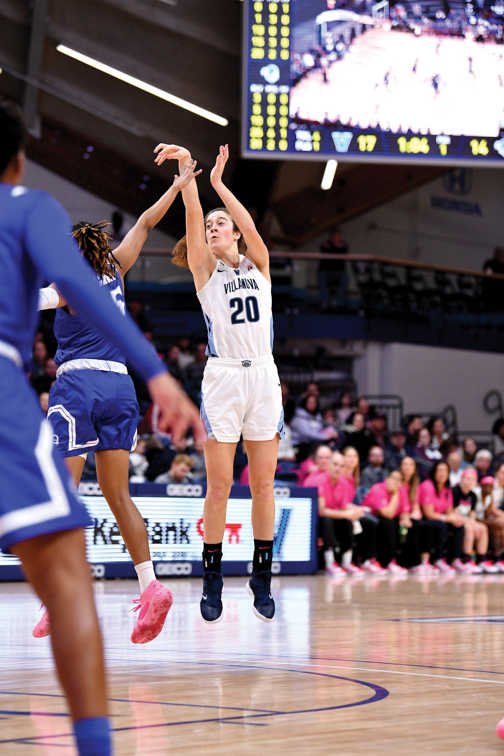 Villanova's Maddy Siegrist follows through on a jump shot during a Big East Conference game against Seton Hall Feb. 2. The Our Lady of Lourdes High School graduate was named Freshman of the Year in the Big East Conference.